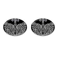 Bling Wings And Cross Oval Cuff Links by artattack4all