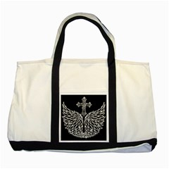 Bling Wings And Cross Two Toned Tote Bag by artattack4all