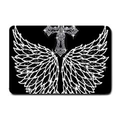 Bling Wings And Cross Small Door Mat by artattack4all