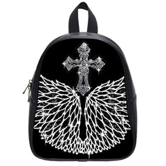 Bling Wings And Cross Small School Backpack by artattack4all