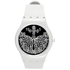 Bling Wings And Cross Round Plastic Sport Watch Medium by artattack4all