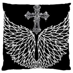 Bling Wings And Cross Large Cushion Case (two Sides) by artattack4all