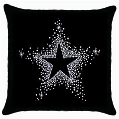 Sparkling Bling Star Cluster Black Throw Pillow Case by artattack4all