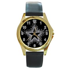 Sparkling Bling Star Cluster Black Leather Gold Rim Watch (round)