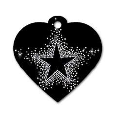 Sparkling Bling Star Cluster Single Sided Dog Tag (heart)