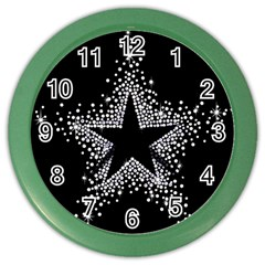 Sparkling Bling Star Cluster Colored Wall Clock by artattack4all
