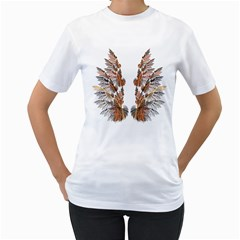 Brown Feather Wing White Womens  T Shirt