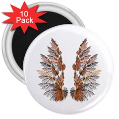 Brown Feather Wing 10 Pack Large Magnet (round) by artattack4all