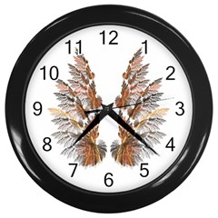Brown Feather Wing Black Wall Clock by artattack4all
