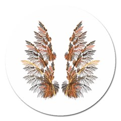 Brown Feather Wing Extra Large Sticker Magnet (round) by artattack4all
