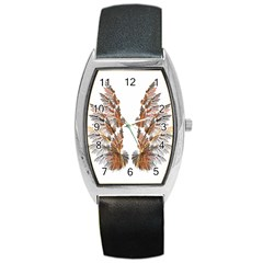 Brown Feather Wing Black Leather Watch (tonneau) by artattack4all