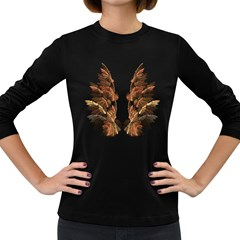 Brown Feather Wing Dark Colored Long Sleeve Womens'' T Shirt by artattack4all
