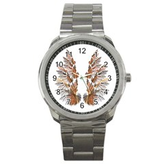 Brown Feather Wing Stainless Steel Sports Watch (round) by artattack4all