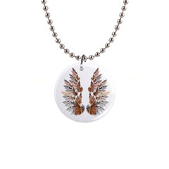 Brown Feather Wing Mini Button Necklace by artattack4all