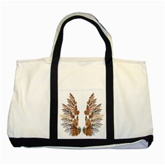 Brown Feather Wing Two Toned Tote Bag