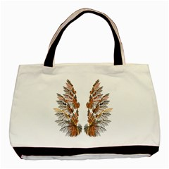 Brown Feather Wing Twin Sided Black Tote Bag by artattack4all
