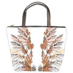 Brown Feather Wing Bucket Handbag by artattack4all