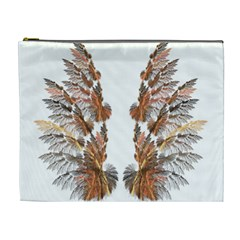 Brown Feather Wing Extra Large Makeup Purse by artattack4all