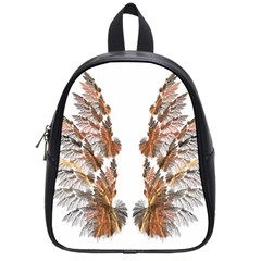 Brown Feather Wing Small School Backpack by artattack4all