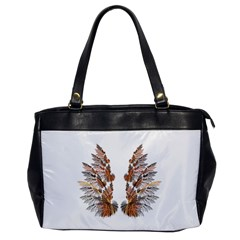 Brown Feather Wing Single Sided Oversized Handbag by artattack4all