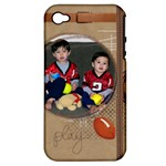 Iphone 4S hardshell w silicone_Football Play - Apple iPhone 4/4S Hardshell Case (PC+Silicone)