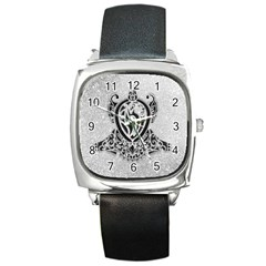 Diamond Bling Lion Black Leather Watch (square) by artattack4all