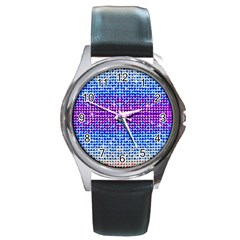 Rainbow Of Colors, Bling And Glitter Black Leather Watch (round) by artattack4all