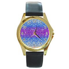 Rainbow Of Colors, Bling And Glitter Black Leather Gold Rim Watch (round) by artattack4all