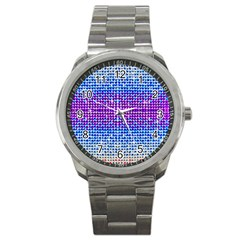 Rainbow Of Colors, Bling And Glitter Stainless Steel Sports Watch (round) by artattack4all