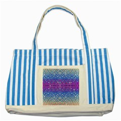 Rainbow Of Colors, Bling And Glitter Blue Striped Tote Bag by artattack4all