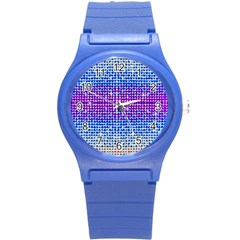 Rainbow Of Colors, Bling And Glitter Round Plastic Sport Watch Small by artattack4all