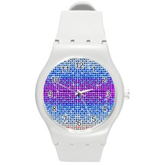 Rainbow Of Colors, Bling And Glitter Round Plastic Sport Watch Medium by artattack4all