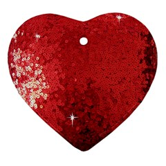 Sequin And Glitter Red Bling Ceramic Ornament (heart) by artattack4all
