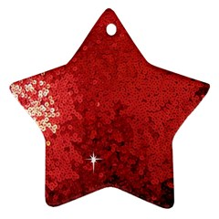 Sequin And Glitter Red Bling Ceramic Ornament (star) by artattack4all