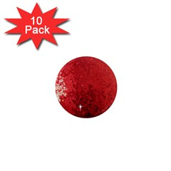 Sequin And Glitter Red Bling 10 Pack Mini Magnet (round) by artattack4all