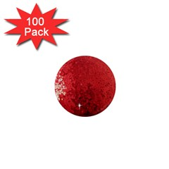 Sequin And Glitter Red Bling 100 Pack Mini Magnet (round) by artattack4all