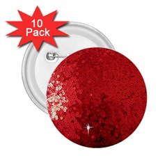 Sequin And Glitter Red Bling 10 Pack Regular Button (round) by artattack4all