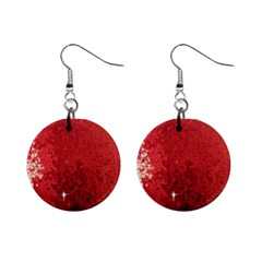Sequin And Glitter Red Bling Mini Button Earrings by artattack4all
