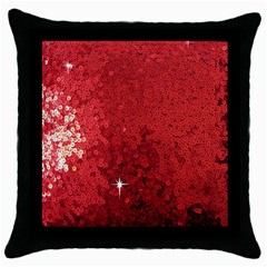 Sequin And Glitter Red Bling Black Throw Pillow Case by artattack4all