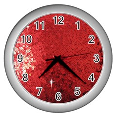 Sequin And Glitter Red Bling Silver Wall Clock by artattack4all