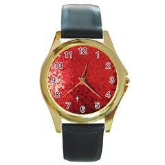 Sequin And Glitter Red Bling Black Leather Gold Rim Watch (round) by artattack4all