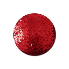 Sequin And Glitter Red Bling Rubber Drinks Coaster (round) by artattack4all