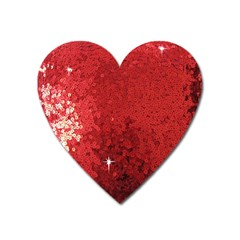 Sequin And Glitter Red Bling Large Sticker Magnet (heart) by artattack4all