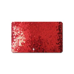 Sequin And Glitter Red Bling Name Card Sticker Magnet by artattack4all