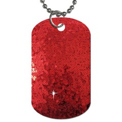 Sequin And Glitter Red Bling Single Sided Dog Tag by artattack4all
