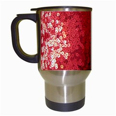 Sequin And Glitter Red Bling White Travel Mug