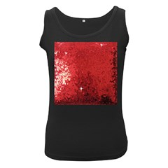 Sequin And Glitter Red Bling Black Womens'' Tank Top by artattack4all