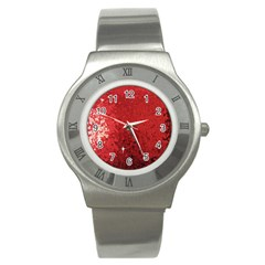 Sequin And Glitter Red Bling Stainless Steel Watch (round) by artattack4all
