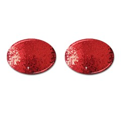 Sequin And Glitter Red Bling Oval Cuff Links by artattack4all