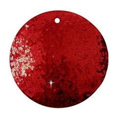 Sequin And Glitter Red Bling Twin Sided Ceramic Ornament (round) by artattack4all
